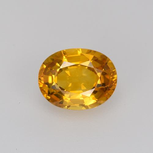 Deep Orange-Gold Zaffiro Gem - 0.8ct Ovale sfaccettato (ID: 523759)