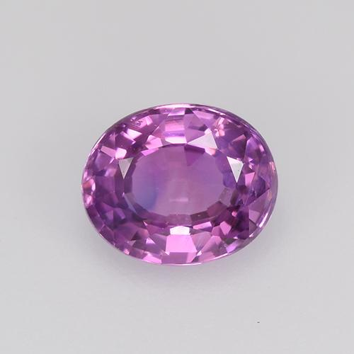 Intense Pinkish Purple Sapphire Gem - 0.9ct Oval Facet (ID: 524051)