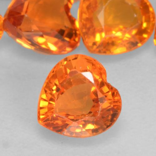 Fire Orange Zaffiro Gem - 0.5ct Cuore sfaccettato (ID: 536890)