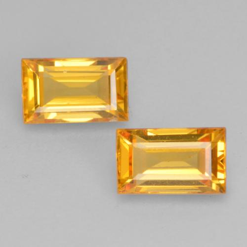 Orange-Gold Zafiro Gema - 0.4ct Faceta en Estilo Baguette (ID: 537136)