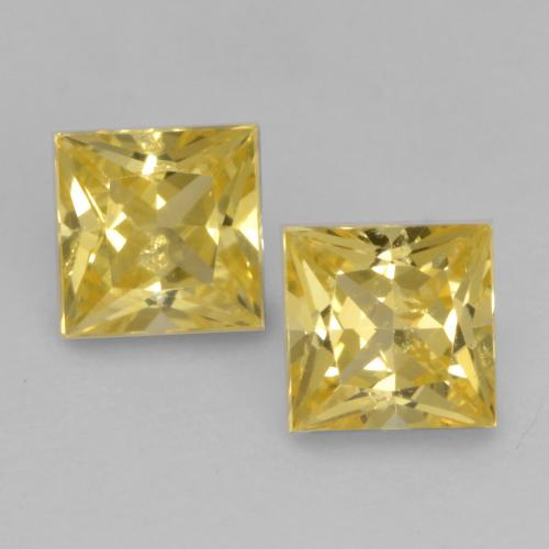 Medium Yellow Zafiro Gema - 0.3ct Corte Princesa (ID: 537677)