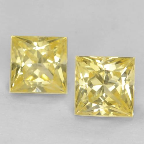 Medium-Light Yellow Sapphire Gem - 0.4ct Princess-Cut (ID: 538340)