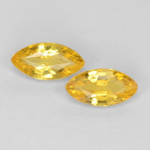 Deep Yellow Sapphire Gem - 0.2ct Marquise Facet (ID: 551300)