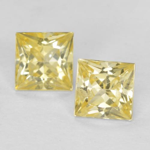 Medium-Light Yellow Sapphire Gem - 0.4ct Princess-Cut (ID: 552411)