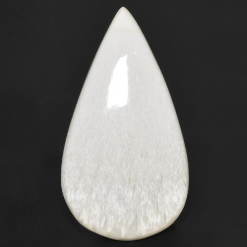 White Scolecite Gem - 18.5ct Pear Cabochon (ID: 481295)