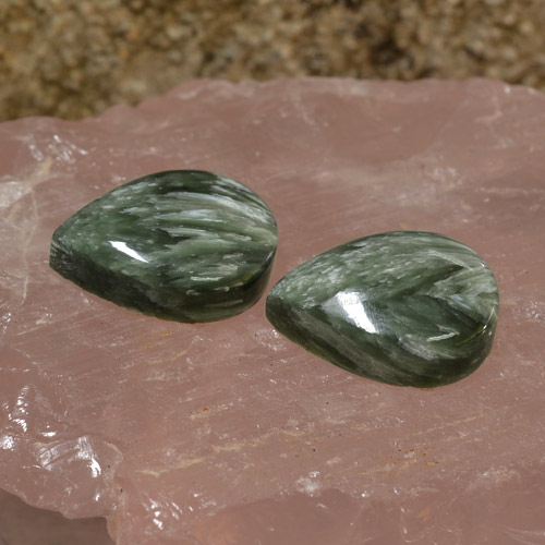 Jade Green Seraphinite Gem - 8.3ct Pear Cabochon (ID: 244652)