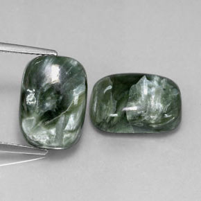 Green Seraphinite Gem - 5.9ct Cushion Cabochon (ID: 317095)