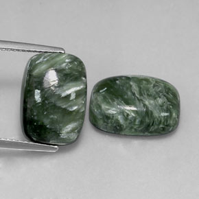 Green Seraphinite Gem - 5.9ct Cushion Cabochon (ID: 317096)