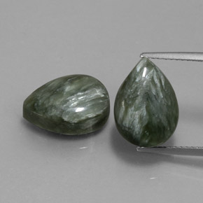 Green Seraphinite Gem - 5.5ct Pear Cabochon (ID: 333658)
