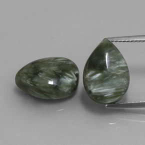 Green Seraphinite Gem - 5.9ct Pear Cabochon (ID: 333661)