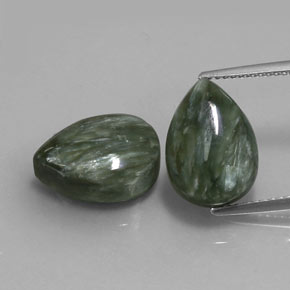 Green Seraphinite Gem - 6ct Pear Cabochon (ID: 333666)