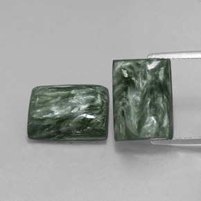 Green Seraphinite Gem - 8.3ct Baguette Cabochon (ID: 338010)