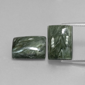 Earthy Green Seraphinite Gem - 8.1ct Baguette Cabochon (ID: 338014)