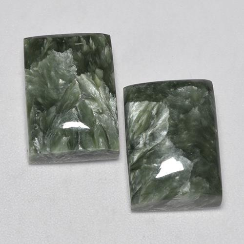 Grayish Green Seraphinite Gem - 7.7ct Baguette Cabochon (ID: 338017)