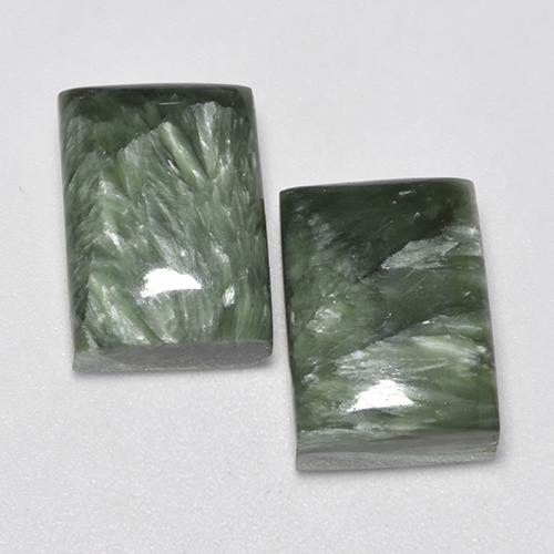 Green Seraphinite Gem - 8.6ct Baguette Cabochon (ID: 338019)