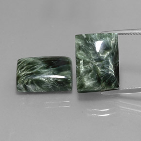 Deep Green Seraphinite Gem - 10.9ct Baguette Cabochon (ID: 341750)