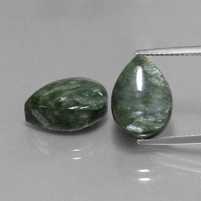 Green Seraphinite Gem - 6.2ct Pear Cabochon (ID: 341752)