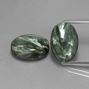 Earthy Green Seraphinite Gem - 6.5ct Oval Cabochon (ID: 342114)