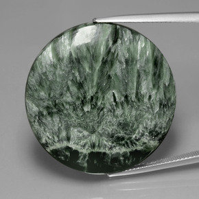 36.08 ct Round Cabochon Medium Green Seraphinite Gemstone 30.19 mm  (Product ID: 391122)