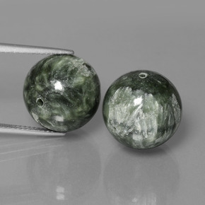 19.7ct Drilled Sphere Green Seraphinite Gem (ID: 447352)