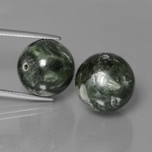 19.3ct Drilled Sphere Green Seraphinite Gem (ID: 447353)