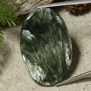 Army Green Seraphinite Gem - 33.4ct Oval Cabochon (ID: 485791)