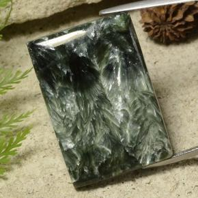 Dark Green Seraphinite Gem - 38.3ct Baguette Cabochon (ID: 485983)