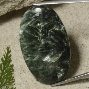 Dark Green Seraphinite Gem - 41.4ct Oval Cabochon (ID: 486305)