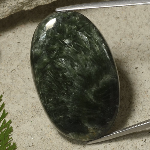 Green Seraphinite Gem - 40.4ct Oval Cabochon (ID: 486314)