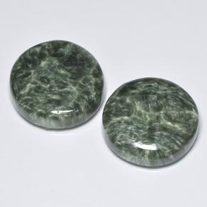 Medium Green Seraphinite Gem - 8ct Round Cabochon (ID: 501864)