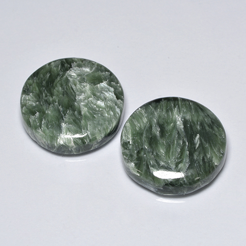 Green Seraphinite Gem - 8.4ct Round Cabochon (ID: 501866)