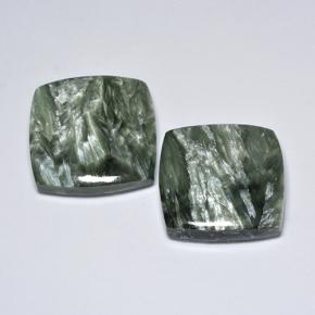 11.9ct Cushion Cabochon Green Seraphinite Gem (ID: 501867)