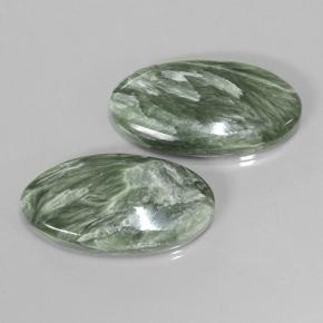 Green Seraphinite Gem - 7.7ct Oval Cabochon (ID: 501868)