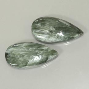 Green Seraphinite Gem - 7.3ct Pear Cabochon (ID: 501874)