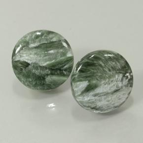 Green Seraphinite Gem - 6.5ct Round Cabochon (ID: 501875)