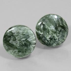 Medium Green Seraphinite Gem - 8.9ct Round Cabochon (ID: 502075)
