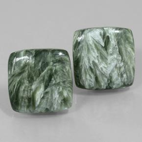 Medium Green Seraphinite Gem - 12.2ct Cushion Cabochon (ID: 502076)