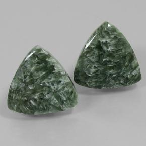 Green Seraphinite Gem - 8.4ct Trillion Cabochon (ID: 502079)