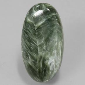 8.8ct Oval Cabochon Green Seraphinite Gem (ID: 502089)