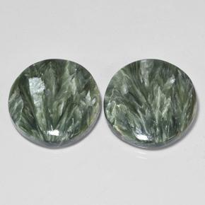 11.9ct Round Cabochon Green Seraphinite Gem (ID: 502849)
