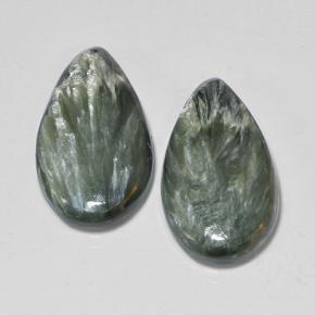 5.2ct Pear Cabochon Green Seraphinite Gem (ID: 502851)