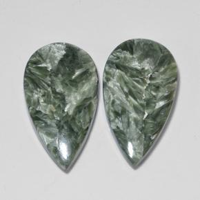 Green Seraphinite Gem - 8ct Pear Cabochon (ID: 502853)