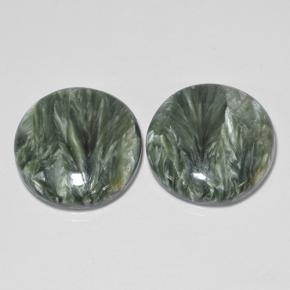 Medium Green Seraphinite Gem - 11ct Round Cabochon (ID: 502854)