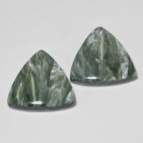 Green Seraphinite Gem - 8.4ct Trillion Cabochon (ID: 502858)