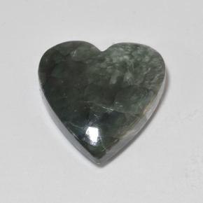 8.9ct Heart Cabochon Green Seraphinite Gem (ID: 502862)