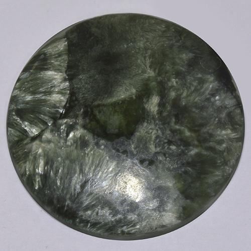 20.3ct Round Cabochon Medium Green Seraphinite Gem (ID: 514365)