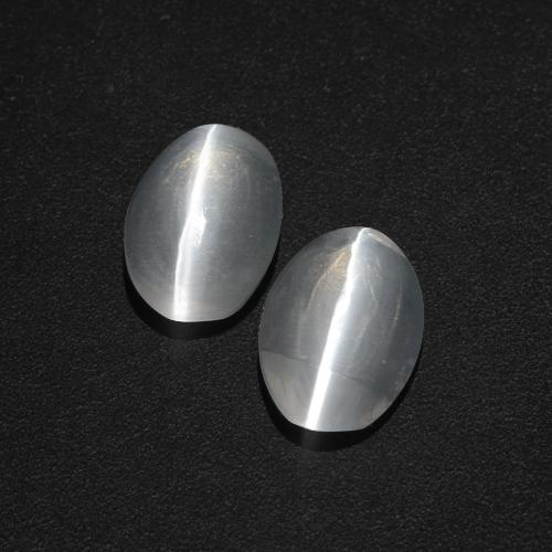 Clear White Sillimanite Cat's Eye Gem - 1.2ct Oval Cabochon (ID: 409990)