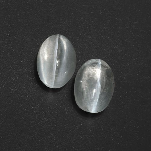 Clear White Sillimanite Cat's Eye Gem - 1.3ct Oval Cabochon (ID: 410060)