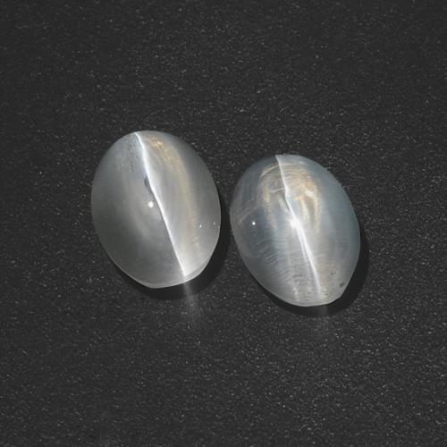 Clear White Sillimanite Cat's Eye Gem - 1.3ct Oval Cabochon (ID: 410067)