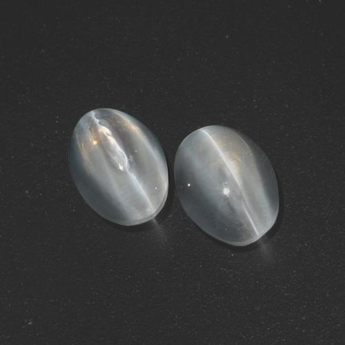 Clear White Sillimanite Cat's Eye Gem - 1.3ct Oval Cabochon (ID: 410068)